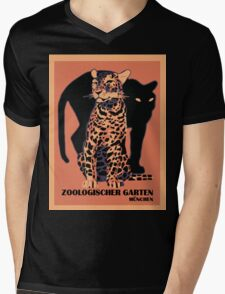 Retro vintage Munich Zoo big cats Mens V-Neck T-Shirt