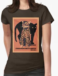 Retro vintage Munich Zoo big cats Womens Fitted T-Shirt