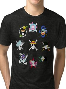 The Straw Hat Crew's Jolly Roger Post Time Skip Tri-blend T-Shirt