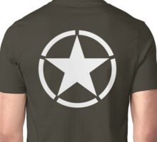 ARMY, AMERICAN, Army Star & Circle, WAR, WW11, Army Star, Jeep, USA, America, American, White on Gree,n Unisex T-Shirt