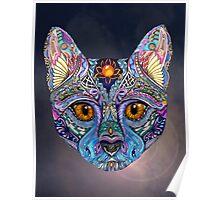 Psychedelic Cat with flair Poster