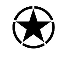 ARMY, Army Star & Circle, Jeep, War, WWII, America, American, USA, in Black Photographic Print