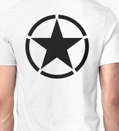 ARMY, Army Star & Circle, Jeep, War, WWII, America, American, USA, in Black Unisex T-Shirt
