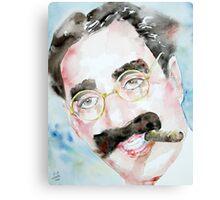 GROUCHO MARX watercolor portrait.2 Canvas Print