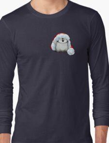 Santa Hat Wearing Baby Emperor Penguin Long Sleeve T-Shirt