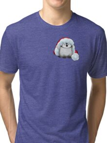 Santa Hat Wearing Baby Emperor Penguin Tri-blend T-Shirt