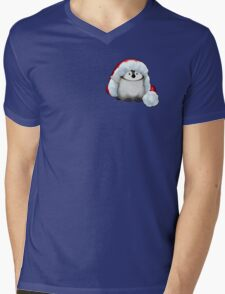 Santa Hat Wearing Baby Emperor Penguin Mens V-Neck T-Shirt
