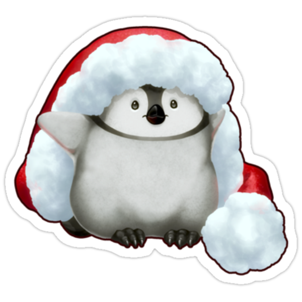 Santa Hat Wearing Baby Emperor Penguin by Julia Lichty
