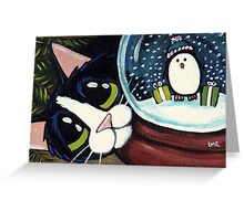 Penguin Snow Globe Greeting Card