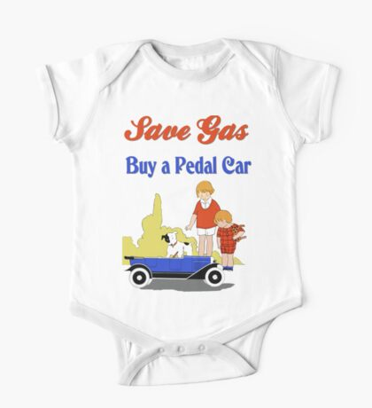 Retro save gas, buy a pedal car One Piece - Short Sleeve
