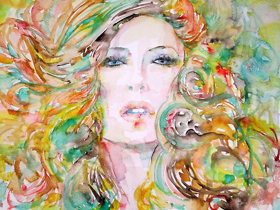 GIRL with BLOND & GREEN HAIR/ WATERCOLOR PORTRAIT by lautir