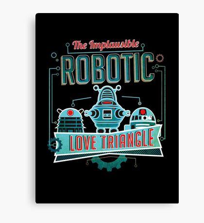 Robotic Love Triangle Canvas Print