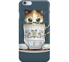 Kitten in a Tea Cup, original colors Calico Kitten floral vines iPhone Case/Skin