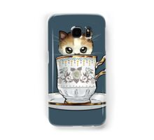 Kitten in a Tea Cup, original colors Calico Kitten floral vines Samsung Galaxy Case/Skin