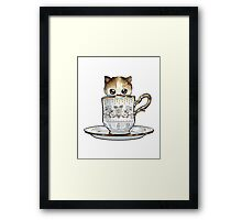Kitten in a Tea Cup, original colors Calico Kitten floral vines Framed Print