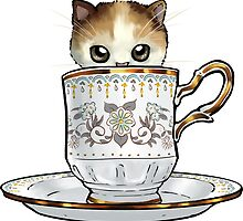 Kitten in a Tea Cup, original colors Calico Kitten floral vines by ninniku