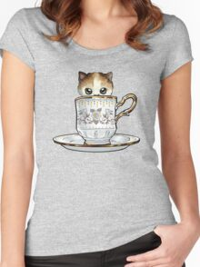 Kitten in a Tea Cup, original colors Calico Kitten floral vines Women's Fitted Scoop T-Shirt