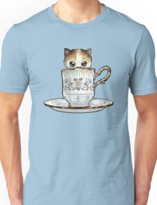 Kitten in a Tea Cup, original colors Calico Kitten floral vines Unisex T-Shirt