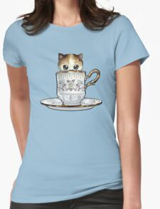 Kitten in a Tea Cup, original colors Calico Kitten floral vines Womens Fitted T-Shirt