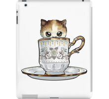 Kitten in a Tea Cup, original colors Calico Kitten floral vines iPad Case/Skin