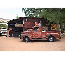Route 66 Garage and Pickup Photographic Print