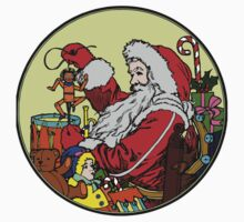 Vintage Santa and lots of toys (full color) Kids Tee