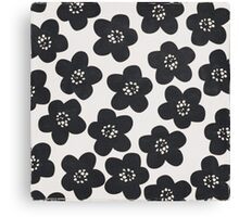 floral doodle black and white Canvas Print