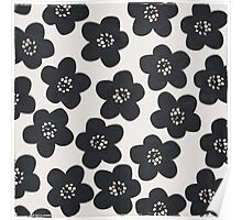 floral doodle black and white Poster