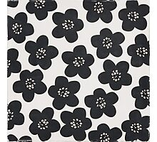 floral doodle black and white Photographic Print