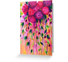 ROSES ARE RAD 2- Bold Pink Red Roses Floral Bouquet Vines, Flower Abstract Acrylic Painting Fine Art Greeting Card