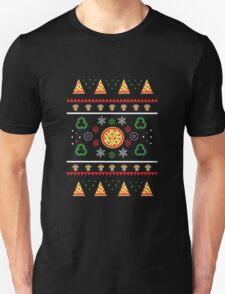 Winter Pizza in Black Unisex T-Shirt
