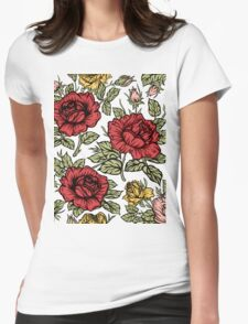 Floral rose Womens Fitted T-Shirt