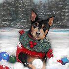 Min Pin Christmas Print. by SurfCityArt