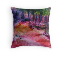 The path in the trees, watercolor Throw Pillow