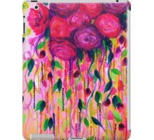 ROSES ARE RAD 2- Bold Pink Red Roses Floral Bouquet Vines, Flower Abstract Acrylic Painting Fine Art iPad Case/Skin