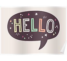 Hello Speech Bubble Typography Poster