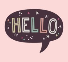 Hello Speech Bubble Typography One Piece - Long Sleeve