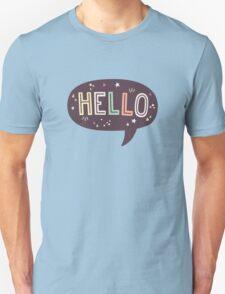 Hello Speech Bubble Typography Unisex T-Shirt
