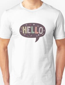 Hello Speech Bubble Typography Unisex T-Shirt