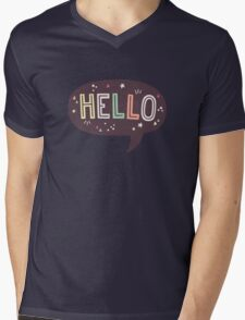 Hello Speech Bubble Typography Mens V-Neck T-Shirt