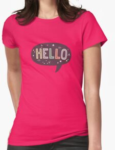 Hello Speech Bubble Typography Womens Fitted T-Shirt