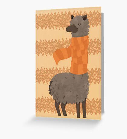 Llama In A Scarf Keeping Warm Greeting Card