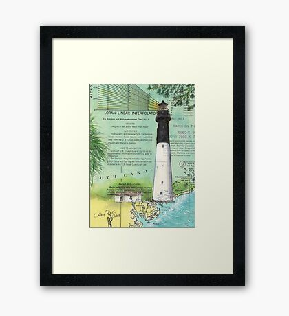 Hunting Island SC Lighthouse Nautical Chart Peek Framed Print