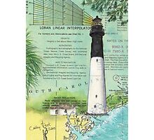 Hunting Island SC Lighthouse Nautical Chart Peek Photographic Print