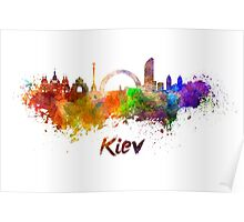 Kiev skyline in watercolor Poster