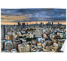 Tel Aviv skyline winter time Poster