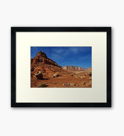 Boulders, red rocks and mountains Framed Print