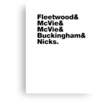 Fleetwood Mac Names Canvas Print
