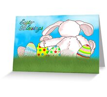 Easter Blessings Card With Rabbit And Easter Eggs Greeting Card