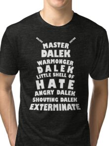 Master Dalek ('Soft Kitty' style) WHITE Tri-blend T-Shirt